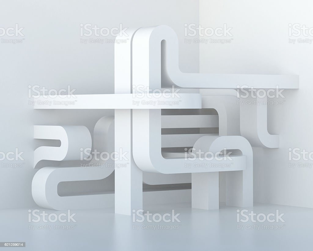 Abstract white three-dimensional architectural composition. stock photo