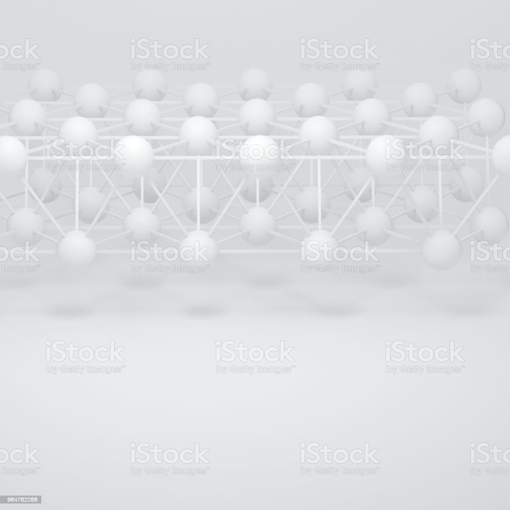 Abstract white three-dimensional composition, render. The structure of the balls and connecting rods. The image of the atoms, molecules, the hinge. Place for text. royalty-free stock photo