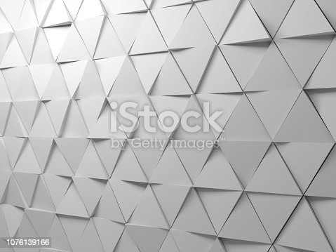 istock Abstract white triangles background pattern 1076139166
