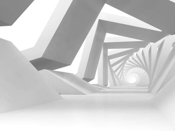 Abstract white twisted tunnel background. 3 d stock photo
