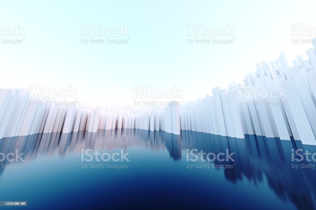 Abstract White Voxel Background3d Illustrationan Abstract