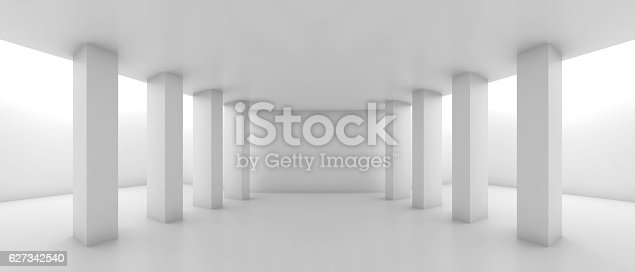 istock Abstract wide corridor perspective with columns 627342540