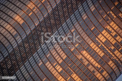Closeup of a High-Rise apartment building in Chicago at sunset.