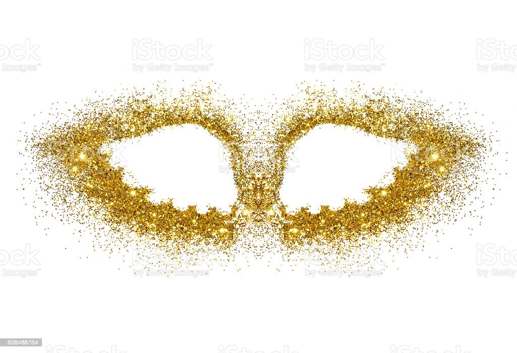 Abstract wings of golden glitter on white background stock photo