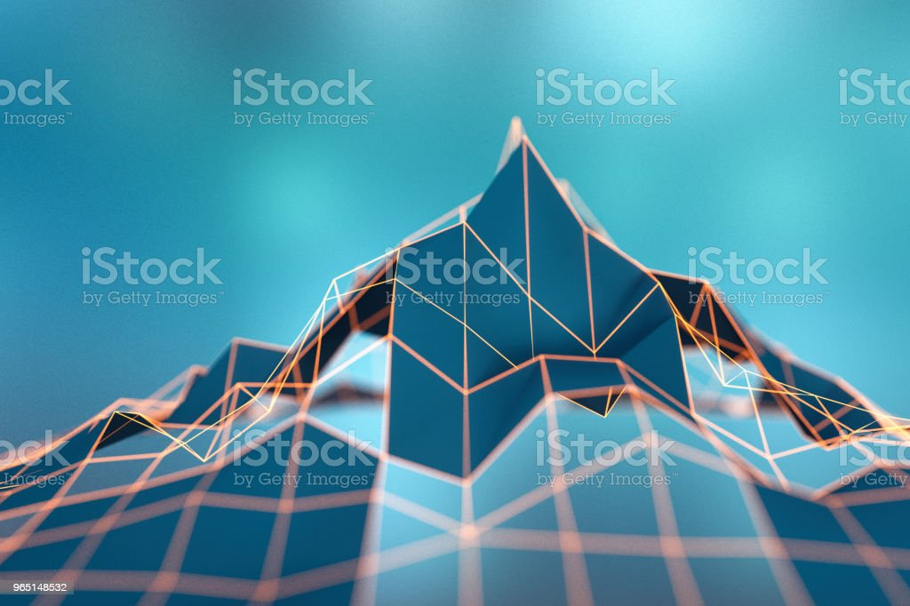 Abstract wire frame data mountain background zbiór zdjęć royalty-free