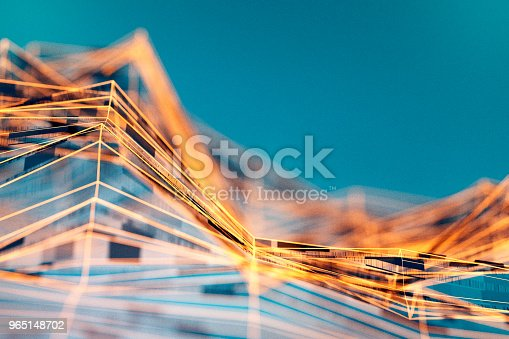 Abstract wire frame data mountain background.