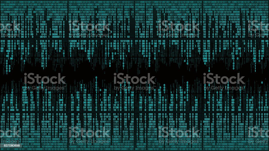 Abstract with digital lines, binary code, matrix background with digits stock photo