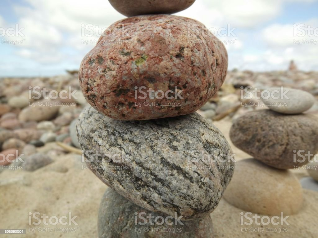Abstract with tower from stones stock photo
