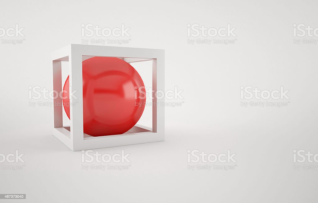 Abstract with white Cube and red ball inside stock photo