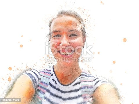 860245894istockphoto Abstract woman smile portrait watercolor illustration painting background. 1068422486