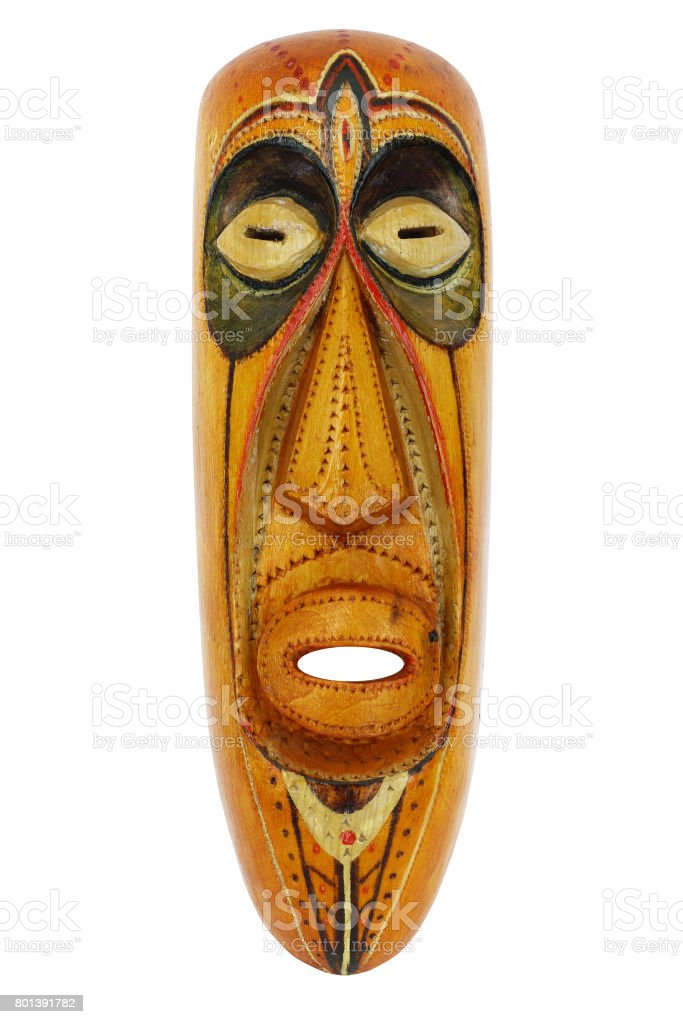 Abstract wooden mask stock photo