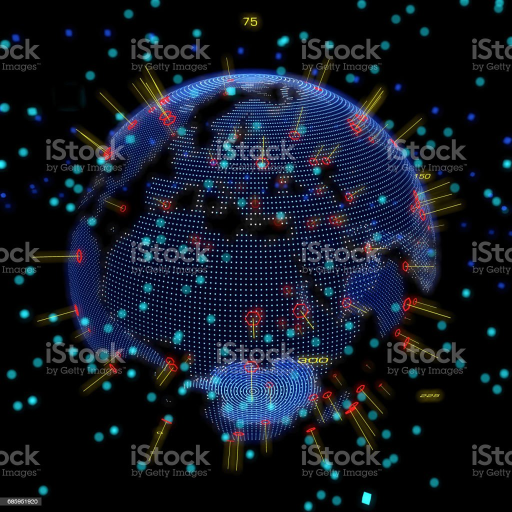 Abstract world globe, hologram, world map, particle stock photo
