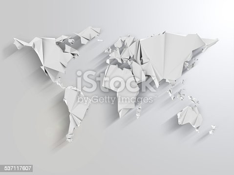 istock Abstract World Map in Origami Style with Long Shadows Effect 537117607