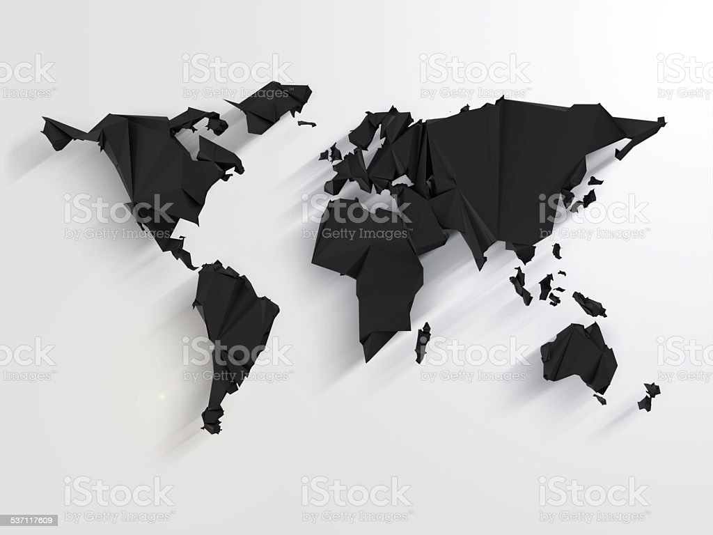 Abstract World Map in Origami Style with Long Shadows Effect stock photo