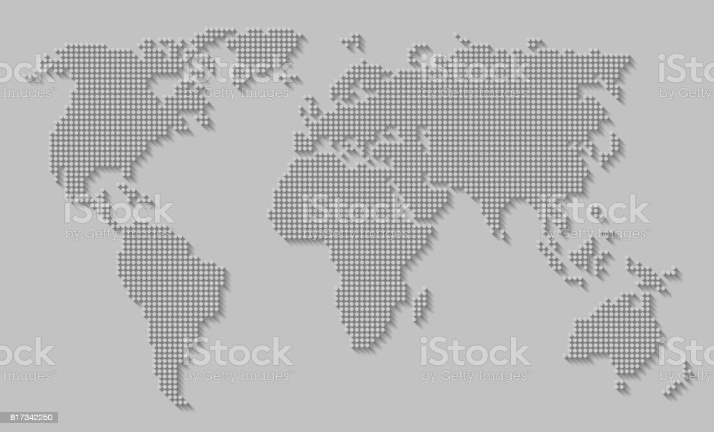 Abstract world map of dots / circles with long shadow on gray background. stock photo
