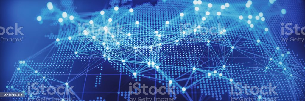 Abstract World Map With Glowing Networks - Europe stock photo