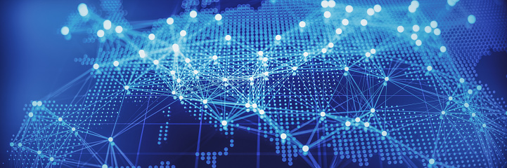 Abstrakte Weltkarte Mit Glühenden Netzwerke Europa Stockfoto und mehr Bilder von Abschicken