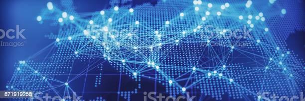 Abstrakte Weltkarte Mit Glühenden Netzwerke Europa Stockfoto und mehr Bilder von Verbindung