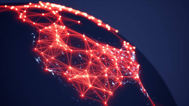 Abstract World Map With Glowing Networks - USA (World Map Courtesy of NASA) stock photo