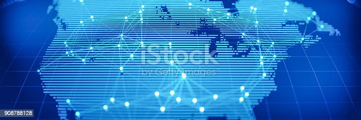 istock Abstract World Map With Glowing Networks - USA 908788128