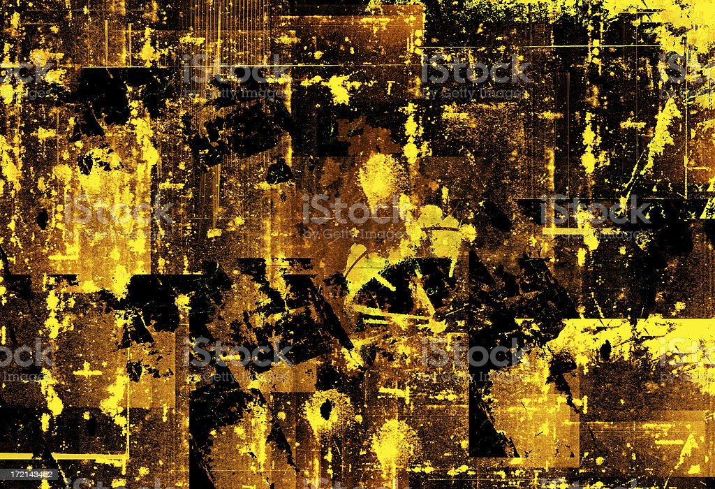 Abstract Art Mixed Media Grunge Stock Photo: Abstract Yellow And Black Grunge Background Stock Photo