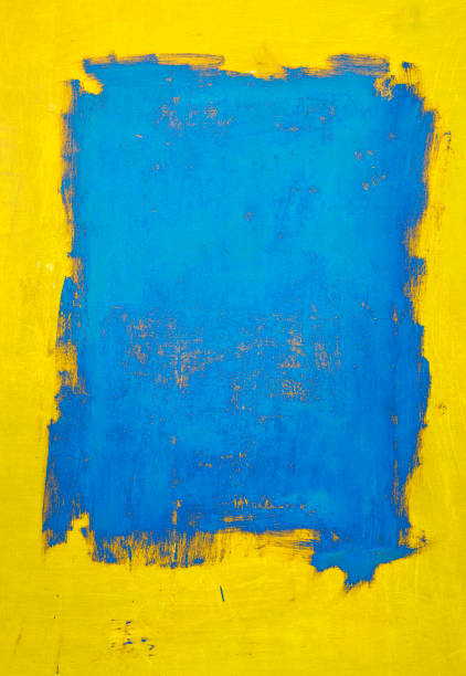 abstract, yellow and blue  art backgrounds. - tempera painting stock pictures, royalty-free photos & images