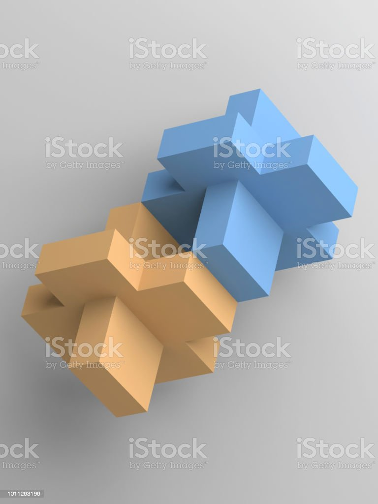 Abstract yellow and blue block objects 3d royalty-free stock photo