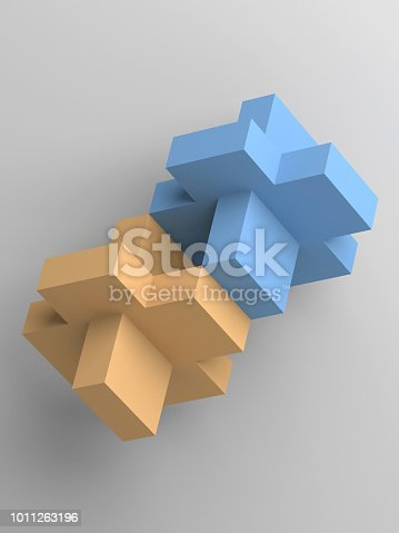istock Abstract yellow and blue block objects 3d 1011263196