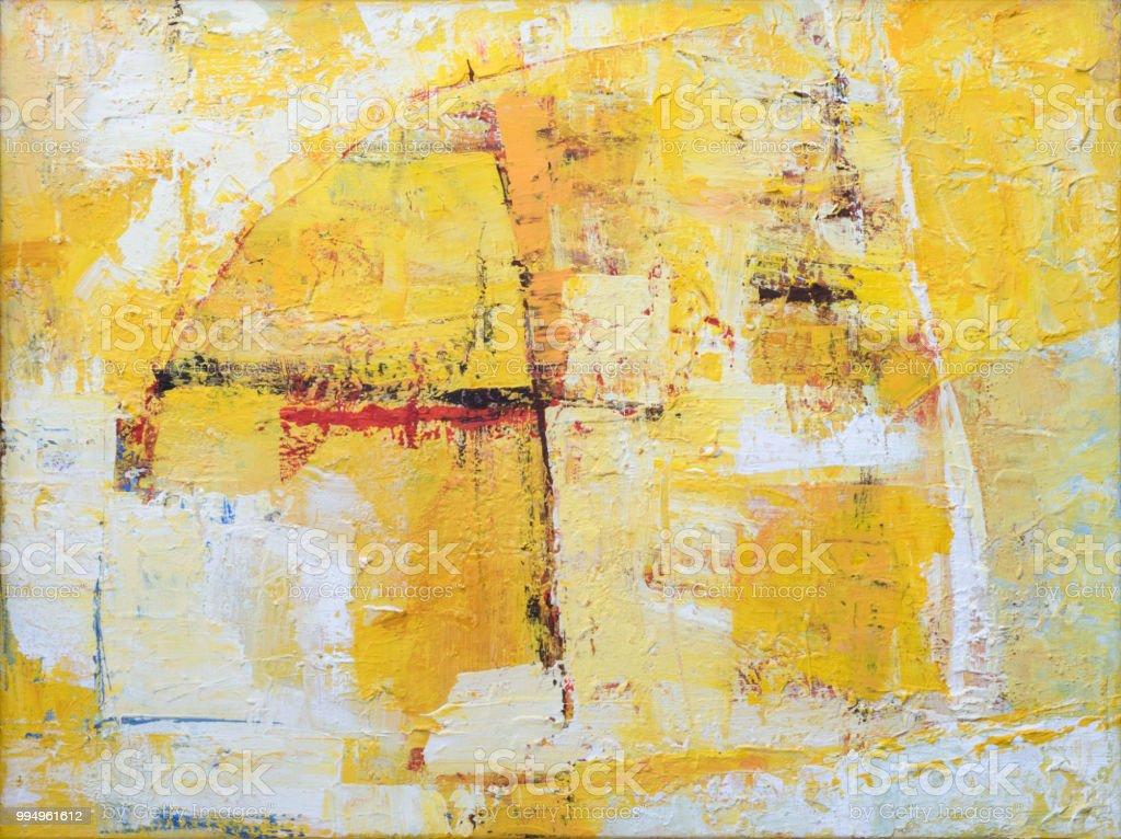 Fondo amarillo pintura abstracta en lona - Foto de stock de Abstracto libre de derechos
