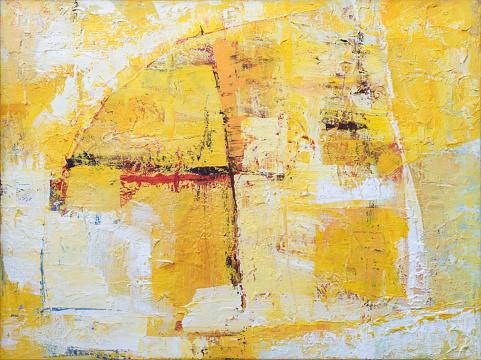 Fondo Amarillo Pintura Abstracta En Lona Foto de stock y más banco de imágenes de Abstracto