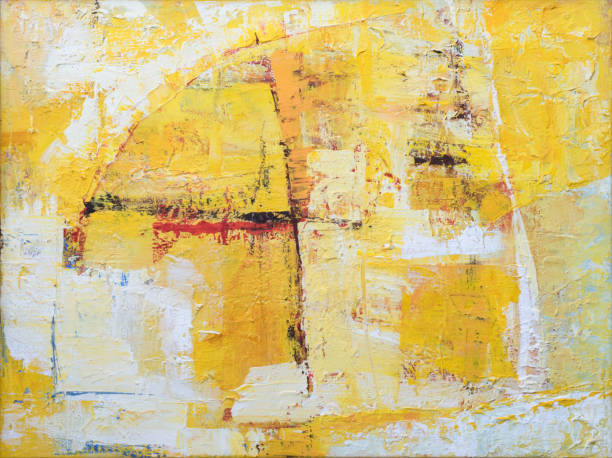 abstract yellow background painting on canvas - art stock pictures, royalty-free photos & images