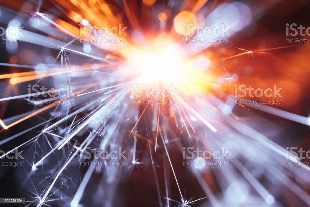 Abstract Yellow Blue Sparks Tunnel - Sparkler Background Party New Year Celebration Technology stock photo