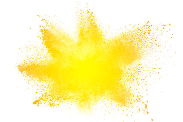 abstract yellow dust explosion on  white background. abstract yellow powder splatter on white background. freeze motion of yellow powder splash. - blue powder stock photos and pictures