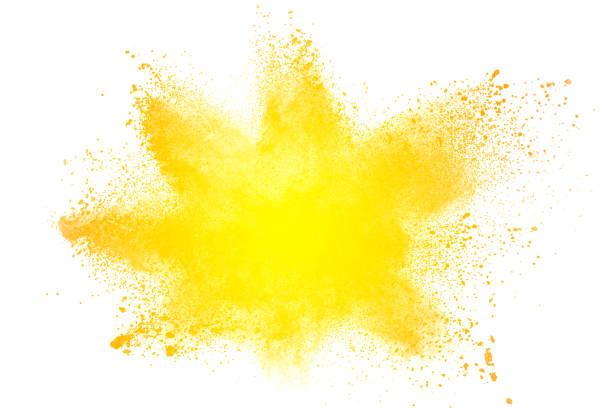 abstrakta gul dammexplosion på vit bakgrund. abstrakta gult pulver splatter på vit bakgrund. frysa rörelse av gult pulver stänk. - blue yellow bildbanksfoton och bilder