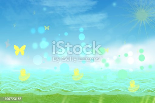 Abstract yellow little ducks swim in the turquoise blue lake and butterflies fly in the sky on a sunny nice day. Sun is shining on cloudy sky. Beautiful illustration with space.