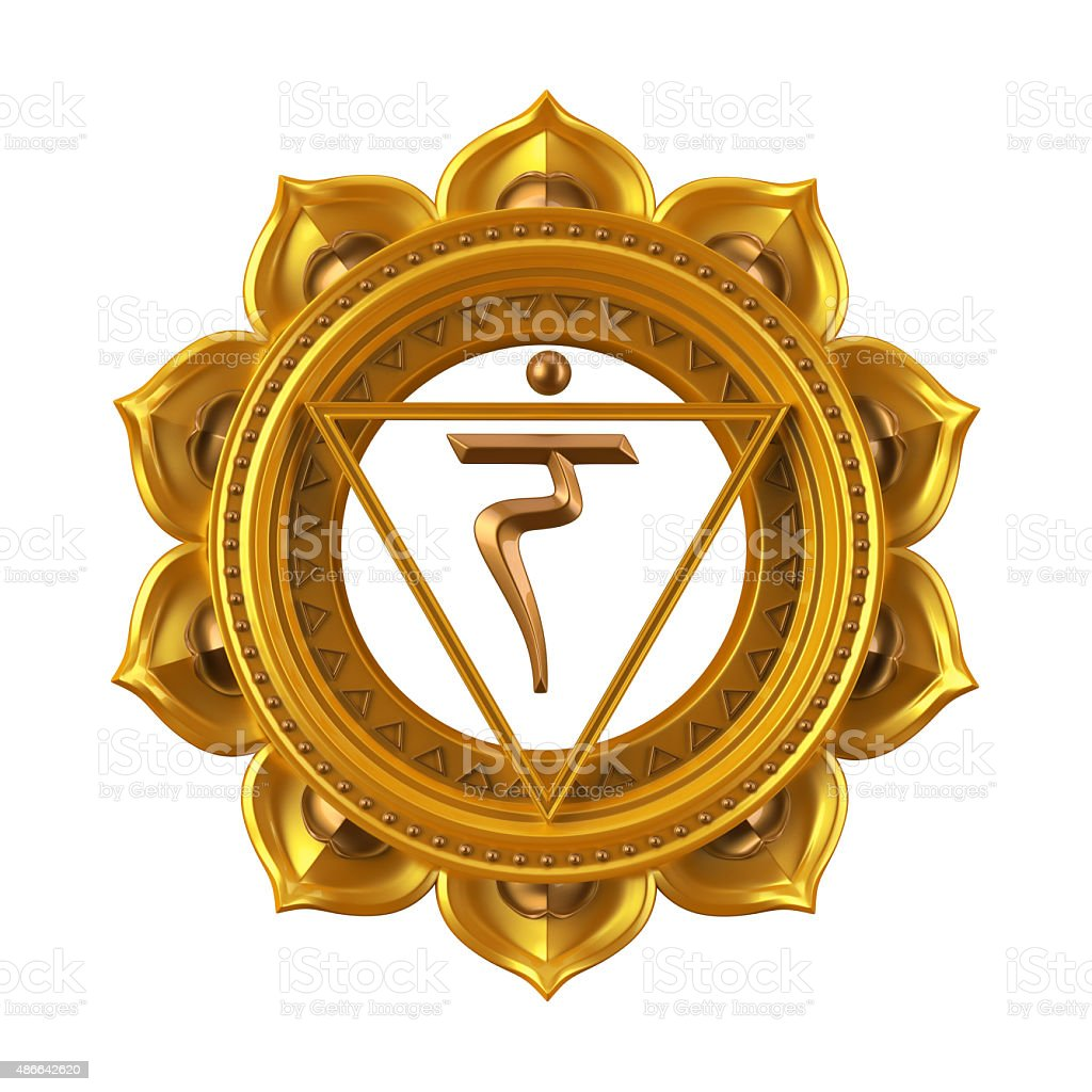 abstract yellow Manipura chakra symbol, 3d modern illustration stock photo