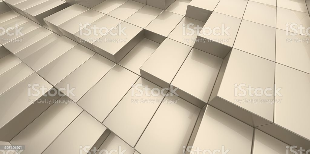 Abstract yellow sand background of 3d blocks royalty-free stock photo