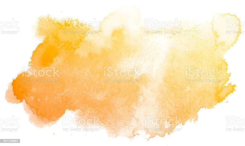 Abstract yellow watercolor background. stock photo