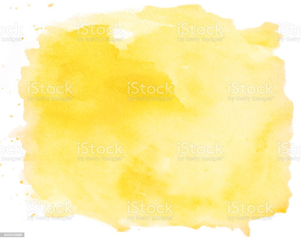 Abstract yellow watercolor spot on white background stock photo