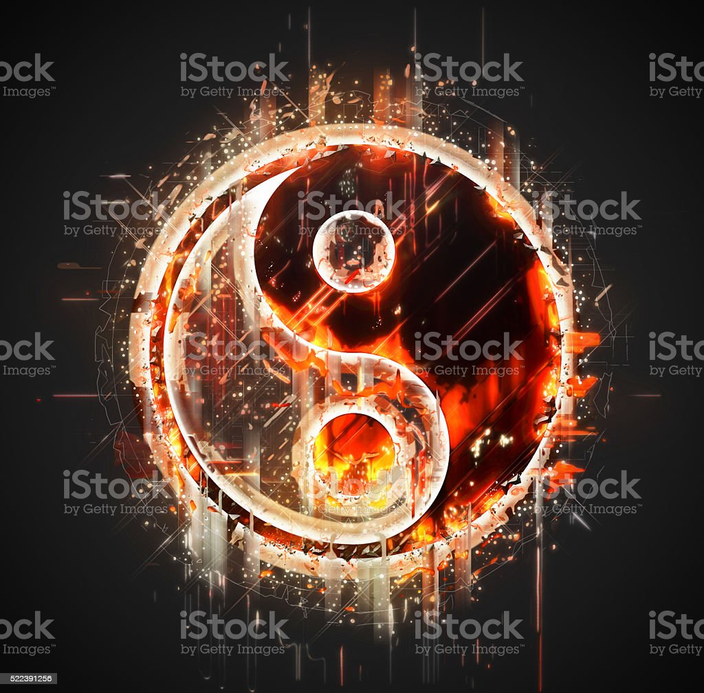 Abstract yin-yang sign stock photo