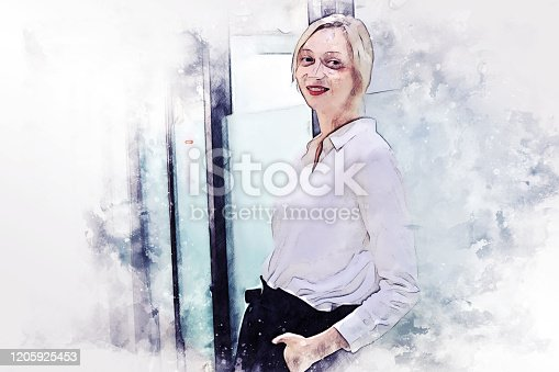 624717328 istock photo Abstract young woman business smile portrait on watercolor illustration painting background. 1205925453