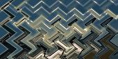 istock Abstract zigzag pattern with waves on nature theme. Artistic image processing created by photo of sea landscape. Beautiful multicolor pattern in blue, gray, black tones. Background image 1267128901