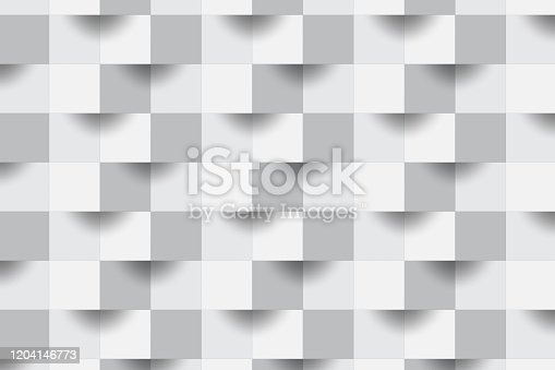 927104724 istock photo 3D Abstract zoom focus white geometric shape from gray cubes.Brick wall squares texture.Panoramic Solid Surface background.Creative design Seamless minimal modern pattern wallpaper illustration. 1204146773