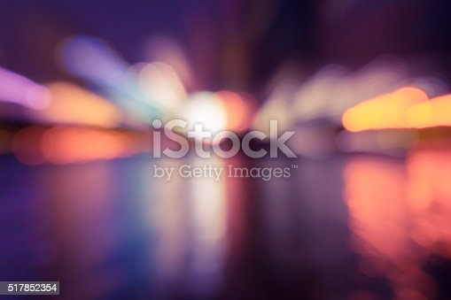 istock Abstract zoom image of bokeh lights in the city. 517852354