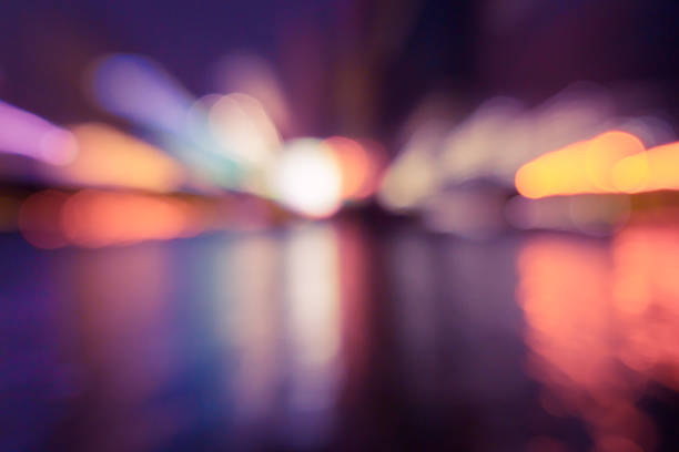 Abstract zoom image of bokeh lights in the city. stock photo