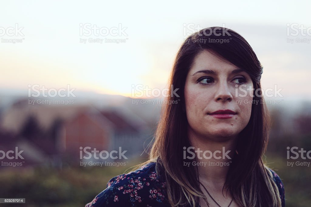 Abstracted young woman watching wonderful enviroment stock photo