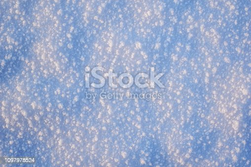 166319867 istock photo Abstraction of blue snow for a background. large snowflakes. concept winter natural background 1097978524