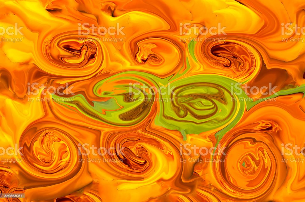 Abstraction pattern, orange twists with greens. stock photo