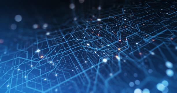 アブストラトサーキットボード。電子コンピュータハードウェア技術。マザーボードのデジタルチップ。マトリックス粒子グリッドバーチャルリアリティ。ネットワーク通信プロセッサ。情� - 半導体 ストックフォトと画像