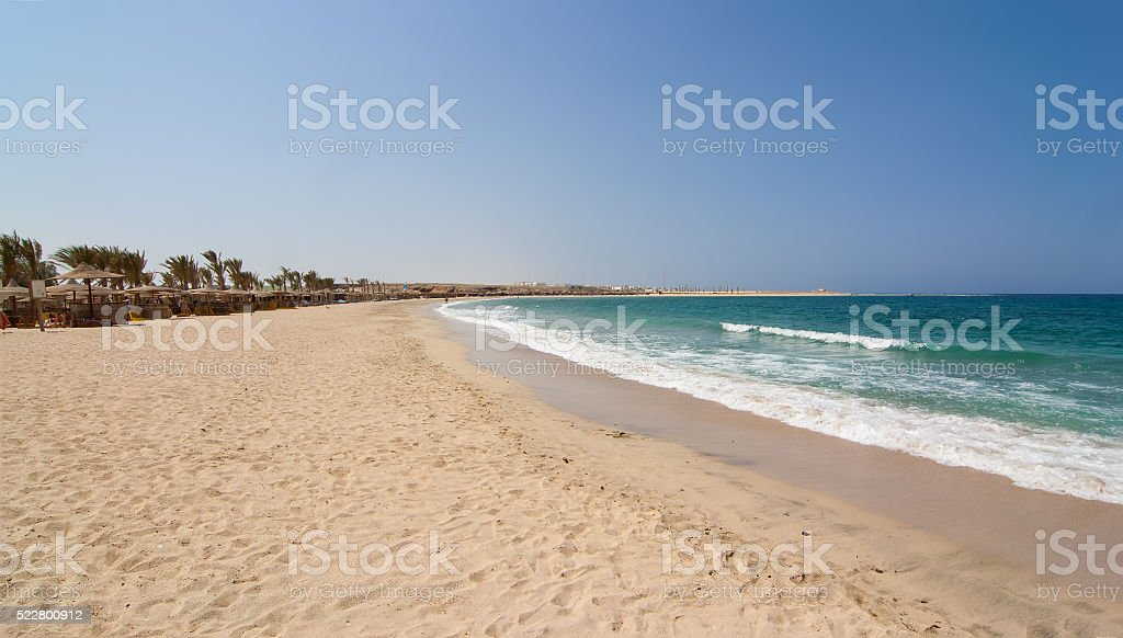 Abu Dabbab bay sandy beach Marsa Alam stock photo